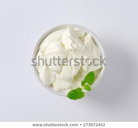 kahvaltı · Yunan · yoğurt · pembe · temizlemek · yeme - stok fotoğraf © digifoodstock