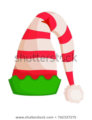 Elf Striped Hat with Green Wavy Trim Isolated Stock photo © robuart