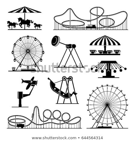 парк · с · аттракционами · Swing · лошади · фон · весело - Сток-фото © bluering