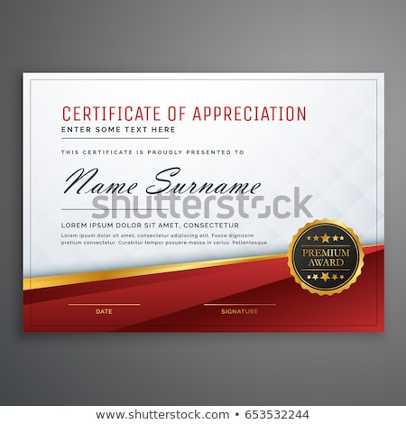 stylish red and golden premium certificate design template Stock photo © SArts