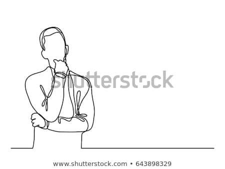 Businessman thinking, Thoughtful man outline. Vector Stock photo © Andrei_