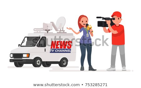 Stock photo: Female news reporter journalist conducting interview