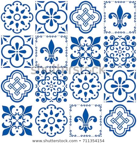 azulejos portuguese tile floor pattern lisbon seamless indigo blue tiles vintage geometric ceramic stock photo © redkoala
