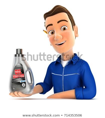 3d mechanic presenting oil motor canister Stock photo © 3dmask