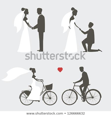 Stock fotó: Menyasszony · vőlegény · esküvő · sziluett · pár · menyasszonyi