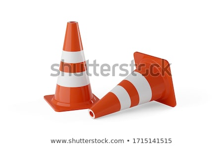 Traffic cones on white background. 3D rendering  stock photo © user_11870380