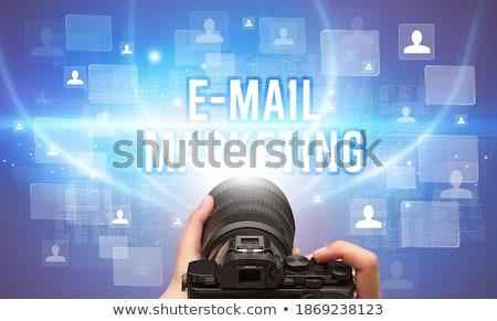 Kameralencse felirat piac ellenőrzés közelkép tükröződés Stock fotó © tashatuvango