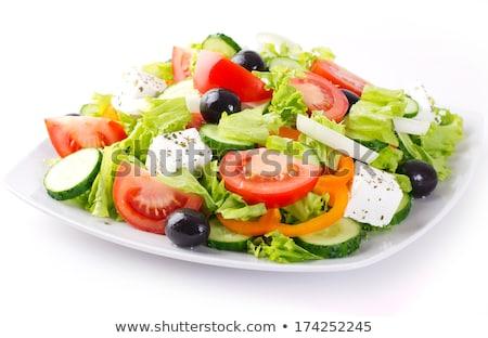 Frissítő görög saláta házi készítésű paradicsomok uborkák Stock fotó © mpessaris