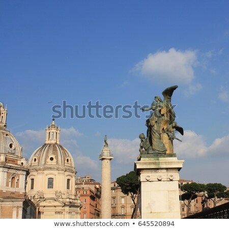 santa maria di loreto church and statue in front of national monument of victor emmanuel ii rome i stock photo © virgin