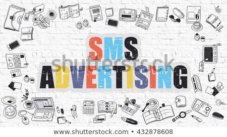 Sms hirdetés firka terv rövid üzenet Stock fotó © tashatuvango