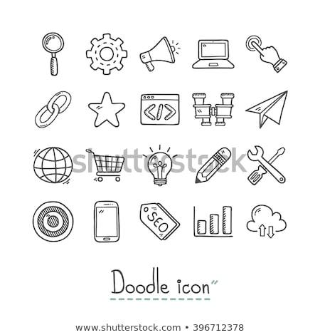 Overleg doodle ontwerp iconen opschrift witte Stockfoto © tashatuvango