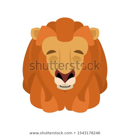 lion sleeping emoji face avatar wild animal asleep emotions be stock photo © popaukropa