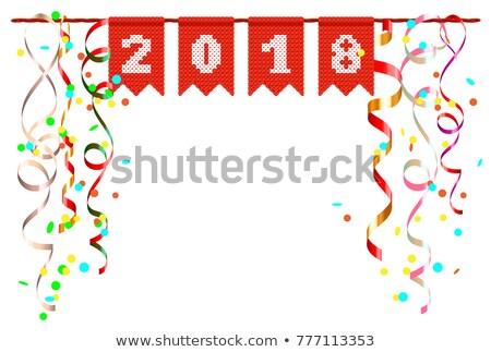 Capodanno scenario confetti isolato bianco Foto d'archivio © orensila