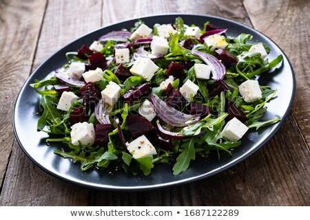 egészséges · cékla · saláta · közelkép · feta · olívaolaj - stock fotó © Lana_M