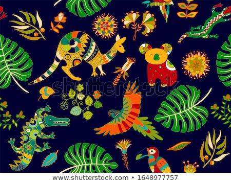 Kangaroo seamless pattern. Colored animals background.  Australi Stock photo © popaukropa
