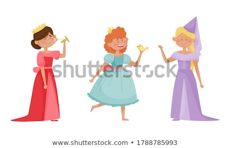 Stock photo: Girl wearing a queen's costume
