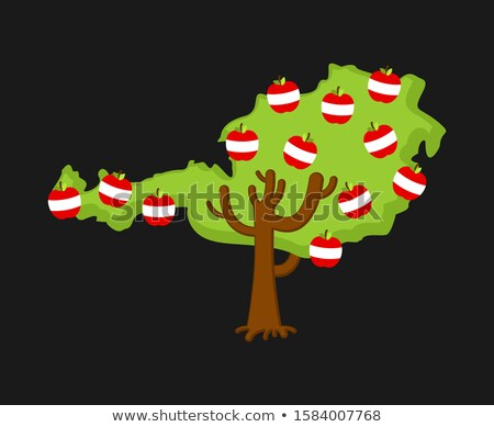 Patriotic apple tree Austria map. apples Austrian flag. National Stock photo © popaukropa
