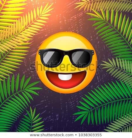 Hello summer poster. Summer party design template with emoji smile face on palm leaf background Stock photo © ikopylov