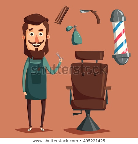 Funny cartoon barber with scissors and razor illustration Stock photo © tiKkraf69