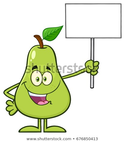 Talking Green Pear Fruit With Leaf Cartoon Mascot Character Holding A Blank Sign Stock photo © hittoon