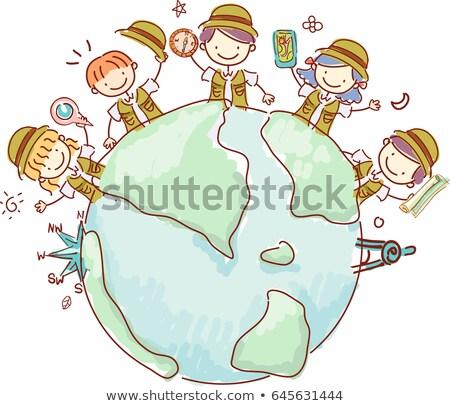 Kinder Geographie Welt Illustration Gruppe Stock foto © lenm