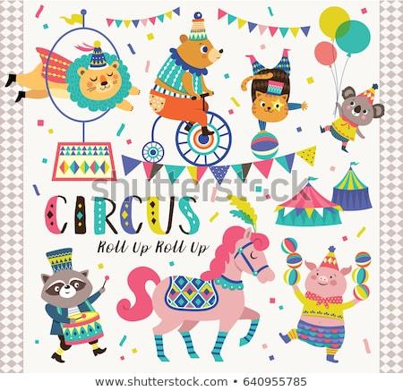 Cirkusz állatok illusztráció terv művészet zászló Stock fotó © bluering