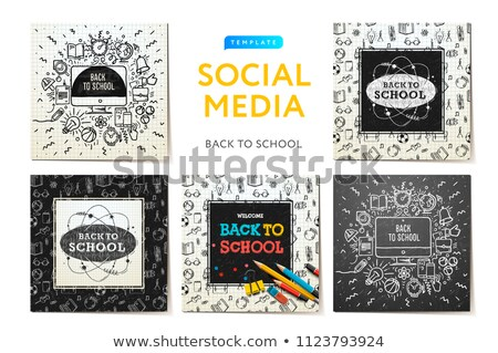 Social media templates Back to School, education and learning. Sketchy notebook doodles with letteri Stock photo © ikopylov