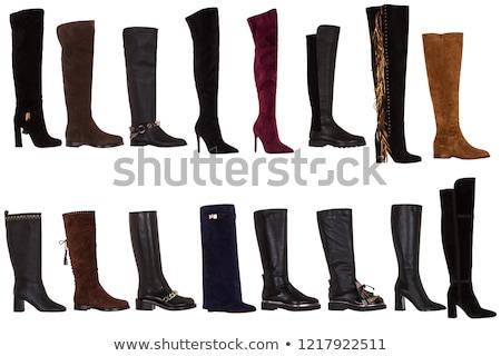 ブーツ 赤 孤立した 白 セクシー 美 ストックフォト © anyunoff