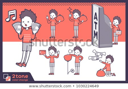 Type Rood kleding kort haar familie geld Stockfoto © toyotoyo