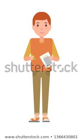 Teenage Schoolboy, Freshman Notebook and Pencil Stock photo © robuart