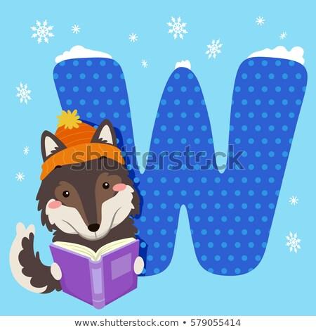Alfabet tegel wolf lezen illustratie lezing Stockfoto © lenm