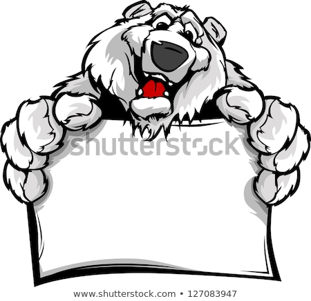 Cartoon Polar Bear Holding A Sign Stock foto © ChromaCo