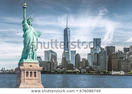 Stok fotoğraf: Heykel · özgürlük · New · York · gökyüzü · şehir · yeşil