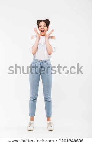 full length photo of excited lovely woman with double buns hairs stock photo © deandrobot