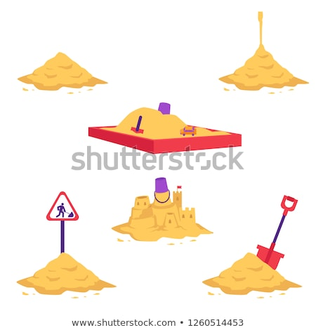 Children Build A Sand Castle In The Sandbox In Summer Vector. Isolated Illustration Stock photo © pikepicture