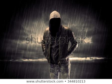 Terörist ayakta arkadan görünüm yalıtılmış beyaz maske Stok fotoğraf © grafvision