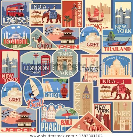 Geografia viajar adesivo ilustração adesivos Foto stock © lenm