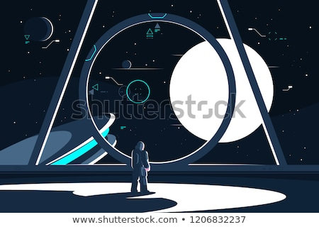 Spacesuit astronaut in spaceship looking at moon. Stock photo © jossdiim