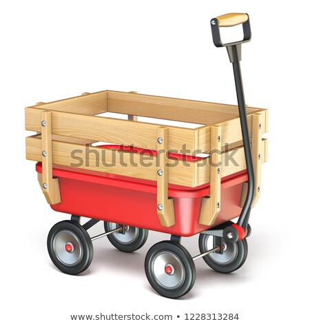 Toy mini wagon with wooden side fence Isometric 3D Stock photo © djmilic
