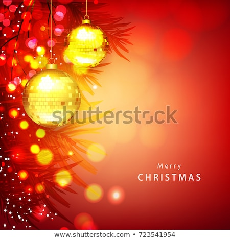 beautiful merry christmas greeting with leaves and golden ball Stock photo © SArts
