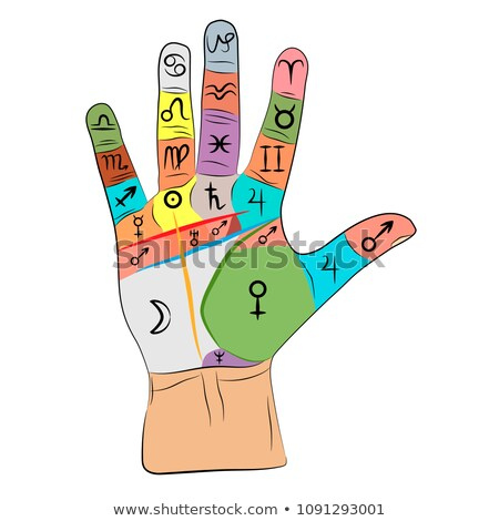 Chiromancy And Palmistry (Chart with signs and symbols) Stock photo © Glasaigh