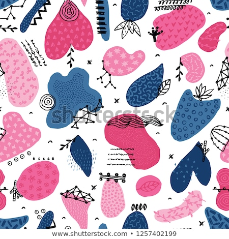 Vector seamless pattern with hand drawn abstract shapes. Spotted and textured figures. Unique design Stock photo © user_10144511