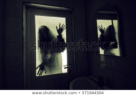 Girl and haunted house at night Stock photo © colematt