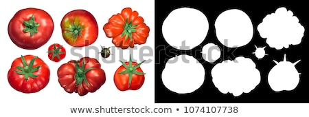 Tomatoes calyx up, top view, paths Stock photo © maxsol7