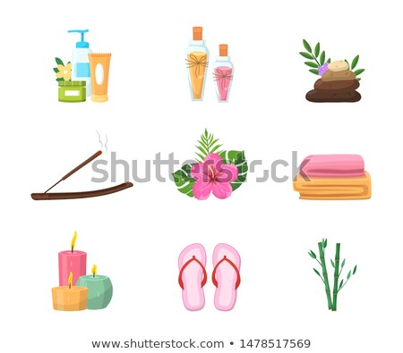Candle and Stone, Oil and Sticks for Spa Cartoon Stock photo © robuart