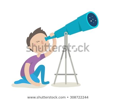 мало мальчика посмотреть телескопом иллюстрация ребенка Сток-фото © adrenalina
