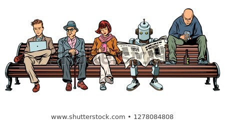 people and a robot sitting on a park bench stock photo © studiostoks
