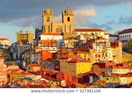 Katedral gün batımı Portekiz şehir ışık dünya Stok fotoğraf © joyr
