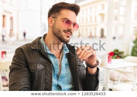 Portret ciekawy człowiek okulary Zdjęcia stock © feedough
