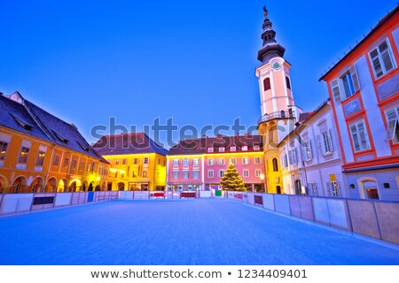 christmas ice skating ring in bad radkersburg evening view stock photo © xbrchx